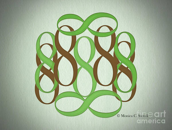 Digital Art - Green And Brown 8's by Monica C Stovall