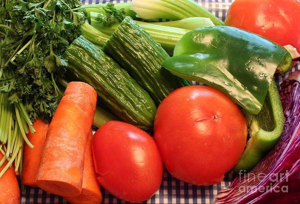 Purple Carrot Photograph - Green And Orange Vegetables by Barbara Griffin