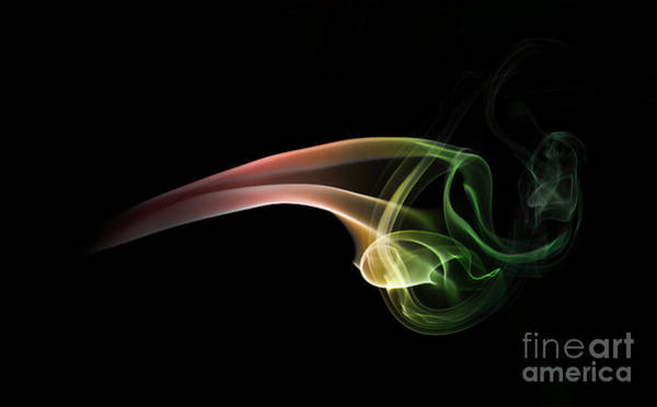 Photograph - Green And Red Smoke Abstract by Jaroslaw Blaminsky