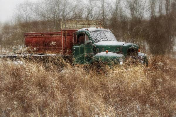 Dump Truck Photograph - Green And Red Truck by Stephanie Calhoun