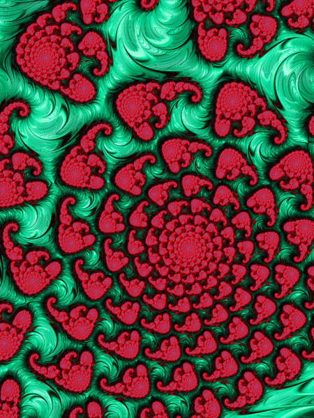 Frax Wall Art - Digital Art - Green And Red Wild Loud And Crazy Fractal Spiral by Matthias Hauser