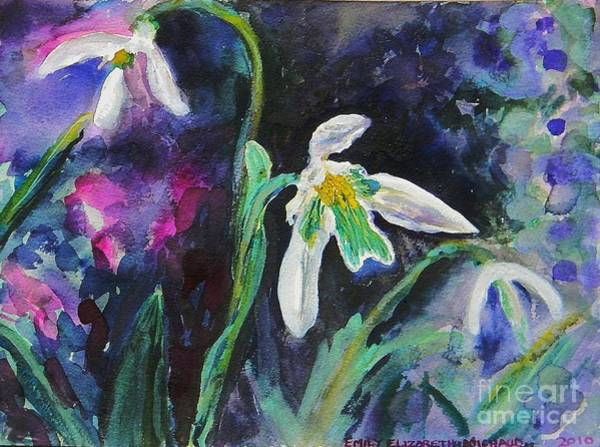 Snowdrop Painting - Green And White Flowers by Emily Michaud