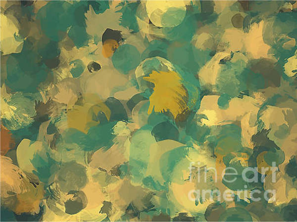 Bright Digital Art - Green And Yellow Round Brush Strokes by Shekaka