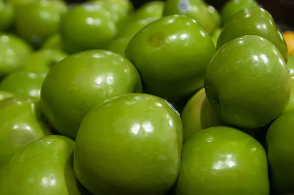 Photograph - Green Apples On Display At Farmers Market by Alex Grichenko
