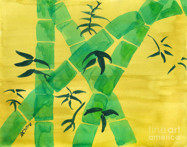 Painting - Green Bamboo Grove On Yellow by Beverly Claire Kaiya
