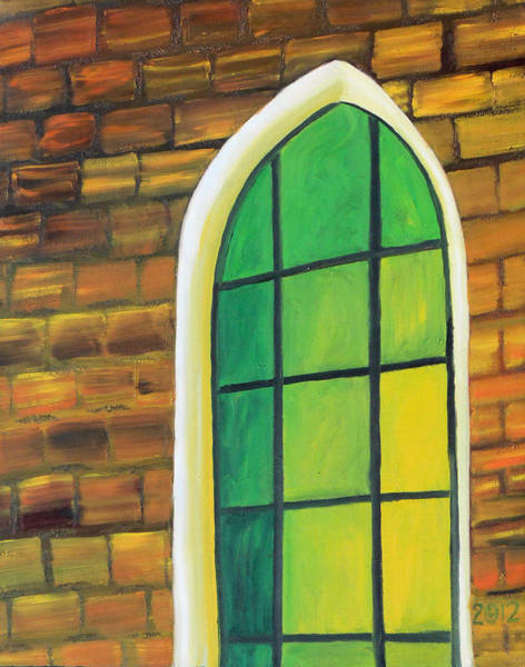 Leaded Glass Painting - Green Baptist by Gregory Otvos