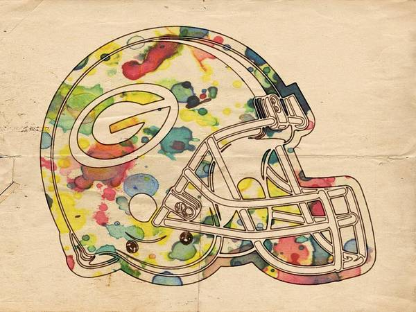 Painting - Green Bay Packers Helmet Poster by Florian Rodarte