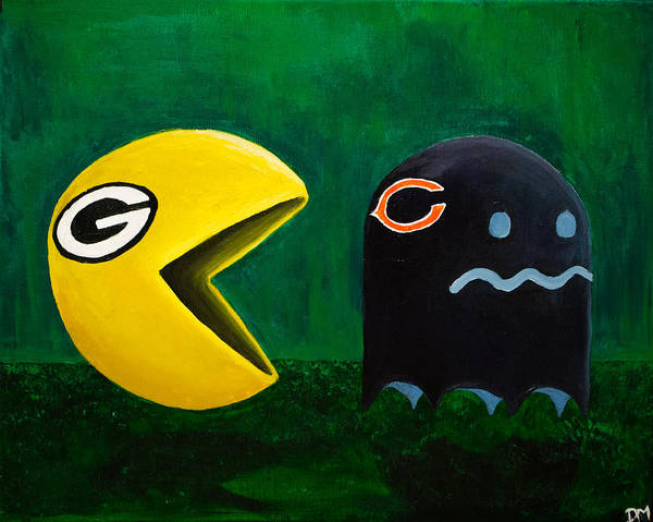 Aaron Rodgers Wall Art - Painting - Green Bay Packers Vs. Chicago Bears by Deanna Millard