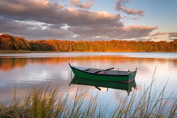 Green Boat On Salt Pond Art Print