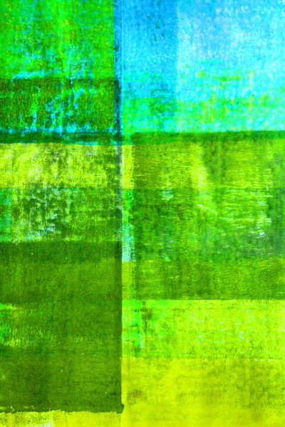 Dark Olive Green Wall Art - Painting - Green Boxes Abstract by Nancy Merkle
