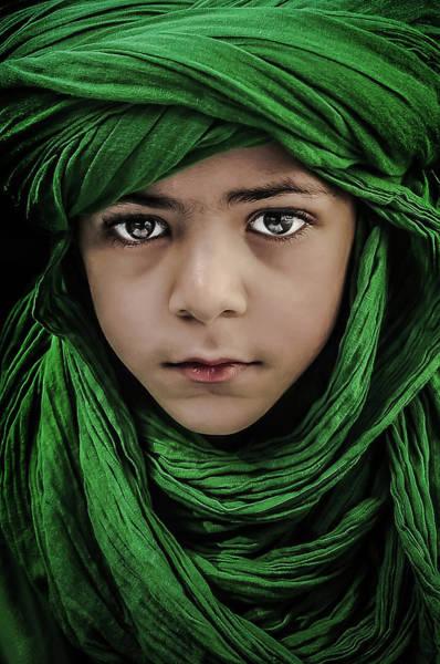 Scarf Wall Art - Photograph - Green Boy by Saeed Dhahi