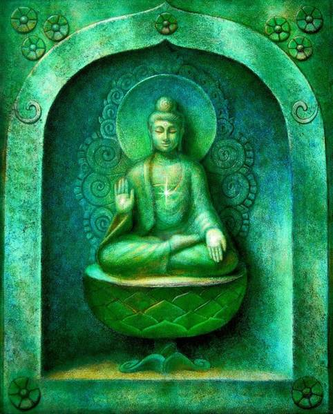 Zen Buddhism Painting - Green Buddha by Sue Halstenberg