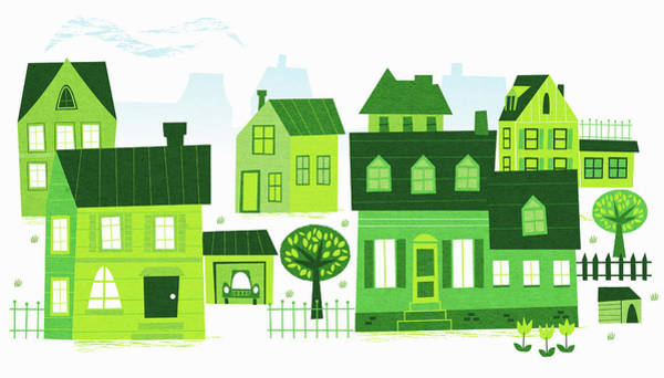 Wall Art - Photograph - Green Buildings In Neighborhood by Ikon Ikon Images