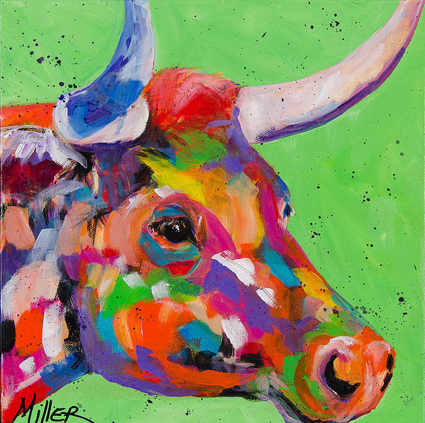 Longhorn Painting - Green Bull by Tracy Miller