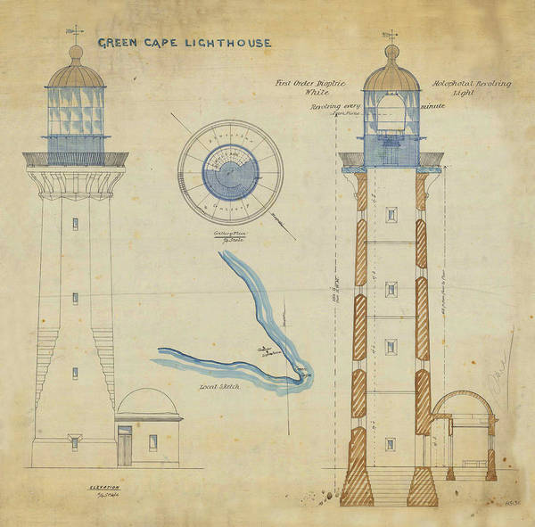 New South Wales Drawing - Green Cape Lighthouse by Jerry McElroy
