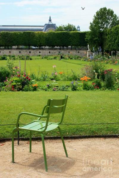 Photograph - Green Chair In Paris Garden by Carol Groenen