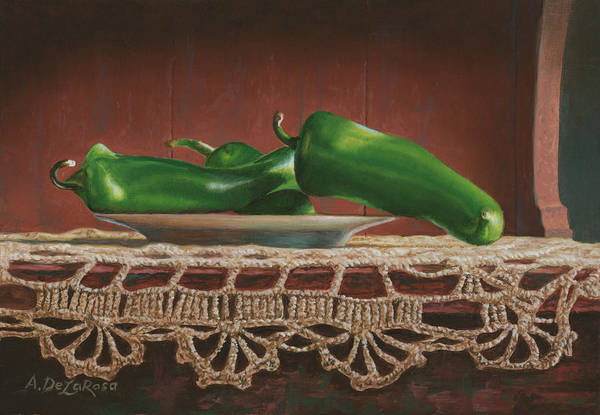 Doily Painting - Green Chilies On A Plate by Abel DeLaRosa