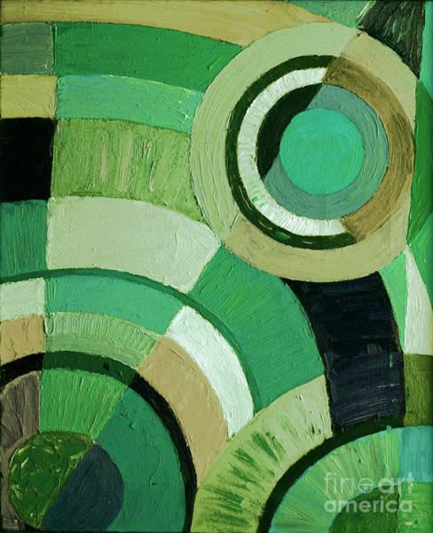 Painting - Green Circle Abstract by Karen Adams