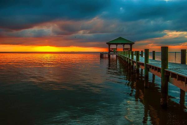 Digital Art - Green Dock And Golden Sky by Michael Thomas