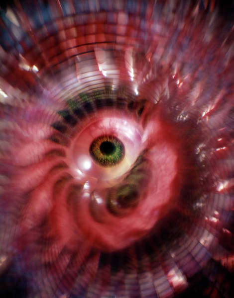 Eyeballs Painting - Green Eyeball Red Whirl Psychedelic by Vintage Images