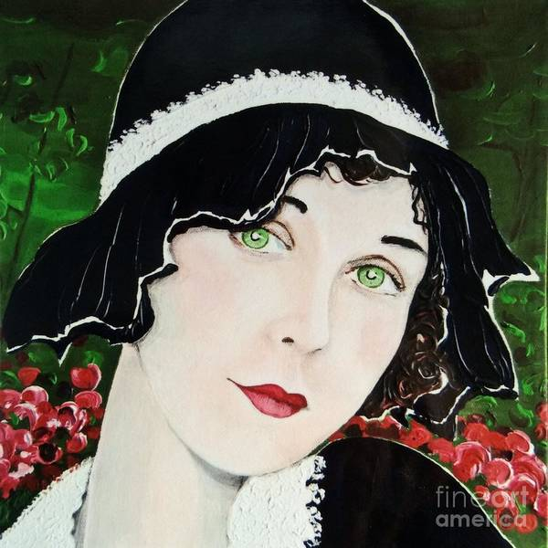Lady In Waiting Painting - Green Eyes Red Lips by Barbara Chase