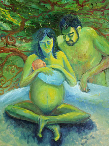 My Son Painting - Green Family by Alan Schwartz