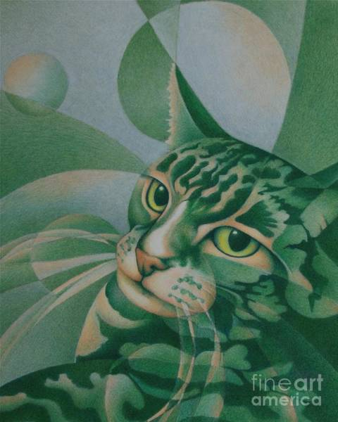 Painting - Green Feline Geometry by Pamela Clements