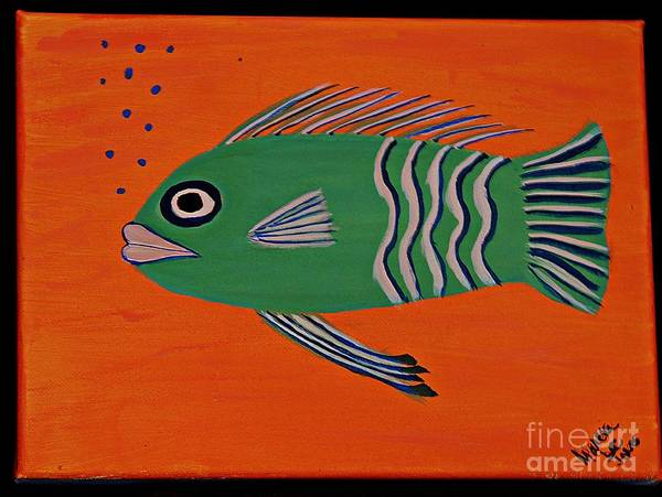 Protein Painting - Green Fish by Marcia Lee Jones