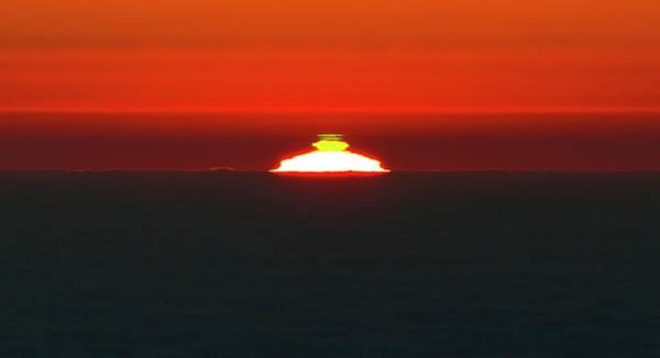 Flash Photograph - Green Flash Phenomenon At Sunset by G. Lombardi/european Southern Observatory