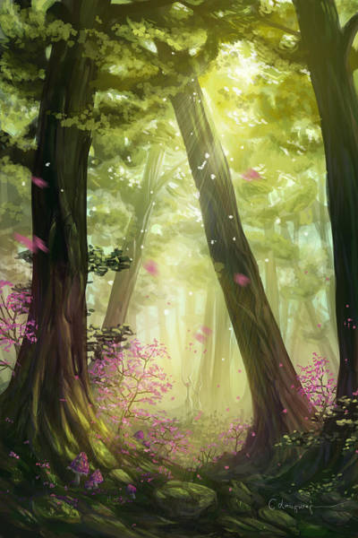Summer Day Digital Art - Green Forest by Cassiopeia Art