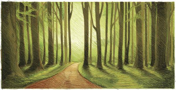 Moss Digital Art - Green Forest Walk by Mixformdesign