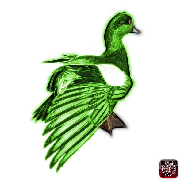 Mixed Media - Green Fractal Wigeon 7702 - Wb by James Ahn
