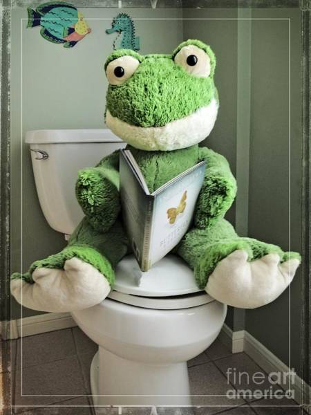 Toilet Paper Photograph - Green Frog Potty Training - Photo Art by Ella Kaye Dickey