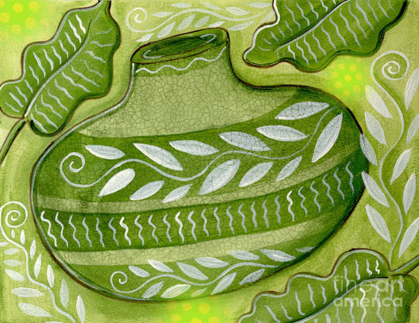 Leafs Mixed Media - Green Gourd by Elaine Jackson