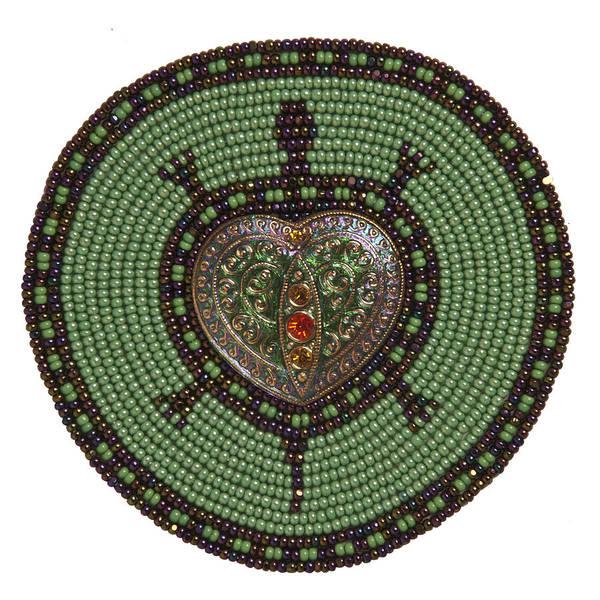 Green Heart Turtle Art Print