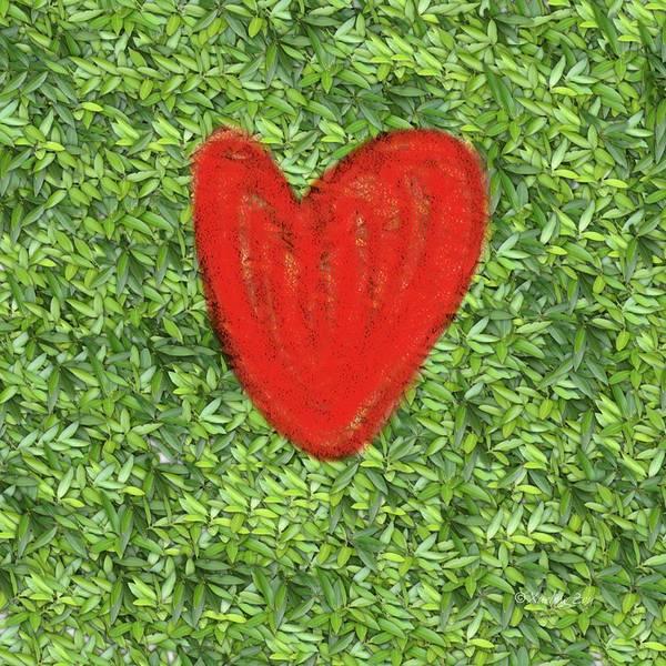 Digital Art - Green Heart by Xueling Zou