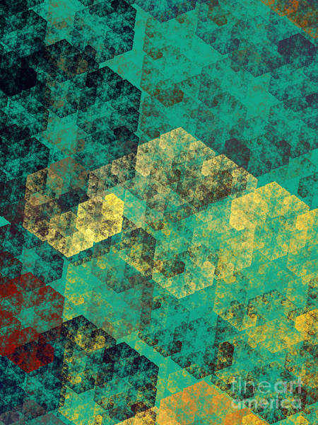 Wall Art - Digital Art - Green Hexagon Fractal Art 3 Of 3 by Andee Design