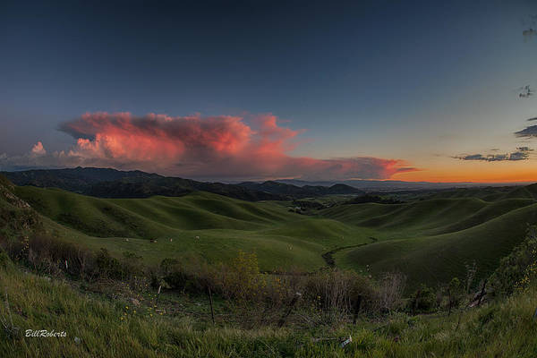 Wall Art - Photograph - Green Hills And Red Clouds by Bill Roberts