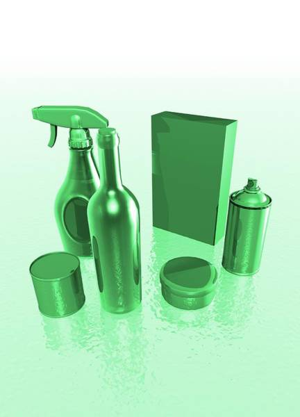 Bottle Green Photograph - Green Household Products by Victor Habbick Visions/science Photo Library