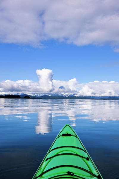Juneau Photograph - Green Kayak On The Tranquil Water In by John Hyde / Design Pics