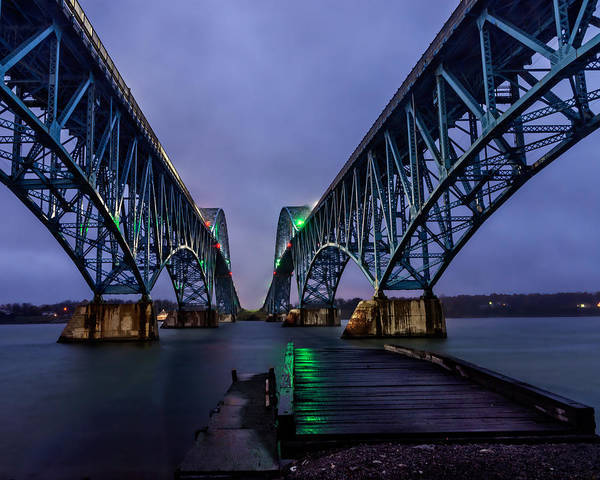 Wny Wall Art - Photograph - Green Light On The Pier Below Twin Spans On A Misty Dawn by Chris Bordeleau