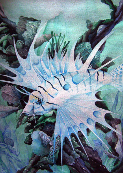 Painting - Green Lionfish by William Love