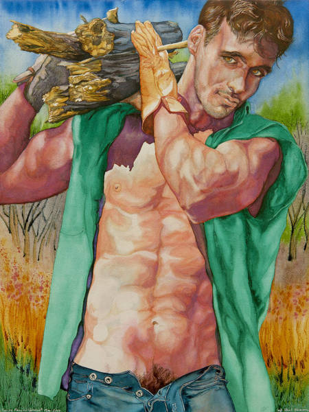 Art Print featuring the painting Green Lumberjack by Xavier Francois