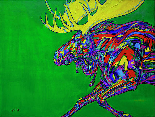 Wall Art - Painting - Green Mega Moose by Derrick Higgins
