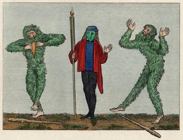 Folklore Drawing - Green Men Of English  Traditional Folk by Mary Evans Picture Library