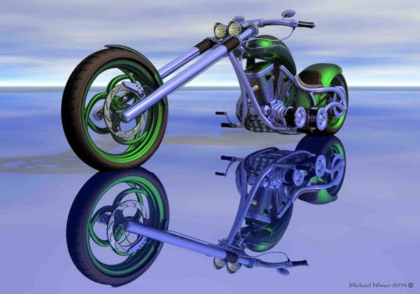 Speed Boat Digital Art - Green Motorcycle by Michael Wimer