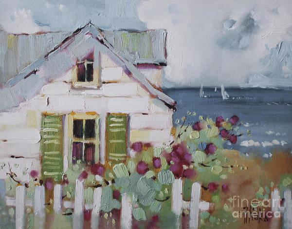 Atlantic Painting - Green Nantucket Shutters by Joyce Hicks