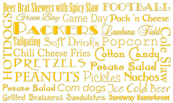 Digital Art - Green Packers Game Day Food 1 by Andee Design