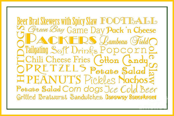 Digital Art - Green Packers Game Day Food 3 by Andee Design