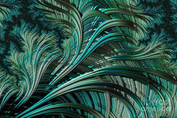 Palm Frond Digital Art - Green Palm - A Fractal Abstract by Ann Garrett